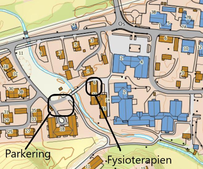 Kart over Os sentrum Fysioterapien