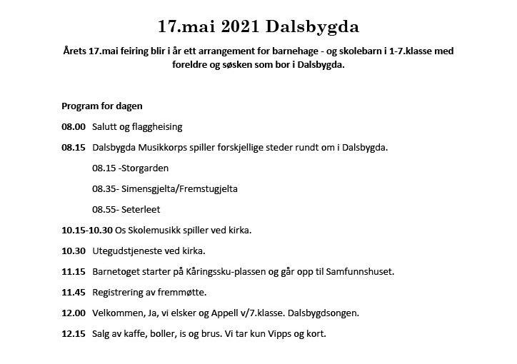 Program for 17. mai i Dalsbygda